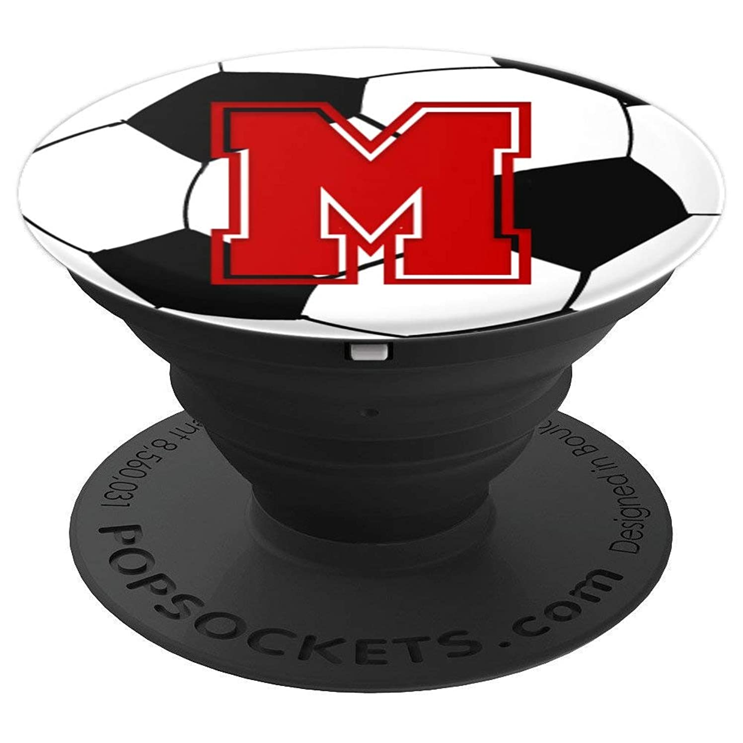 Red Initial Letter M Football Soccer Ball Monogram for Girls - PopSockets Grip and Stand for Phones and Tablets