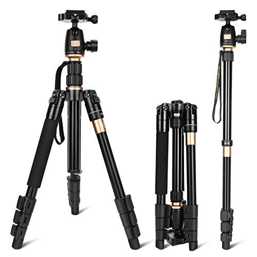 LOETAD Trípode Completo Trípode Monópode Flexible para Cámara con Rótula de Bola Placa Rápida Liberación para Canon Nikon Sony Panasonic DSLR