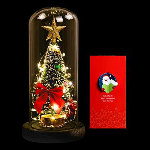 Árbol de Navidad en cúpula de Vidrio, ANSUG Mini árbol de Navidad Artificial con Luces LED sobre Base de Madera Pequeño Cedro Blanco Decoración de Navidad para Fiesta navideña