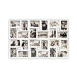 DRULINE Bilderrahmen für 24 Fotos, Fotorahmen, Fotocollage Fotovorhang XXL Bildervorhang RPF20BK Milchig-Photoshop-Optik New Lifestyle Kunststoffrahmen Bildergalerie/Bilderwand   86 x 57 cm   Weiß