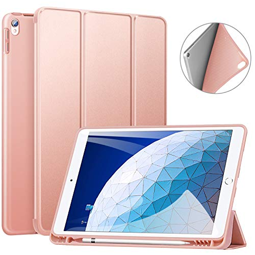 ZtotopCase Case for iPad Air 3 10.5 2019 & iPad Pro 10.5 2017 with Pencil Holder, Ultra Slim Soft TPU Back and Trifold Stand Cover with Auto Sleep/Wake Full Body Protective Smart Case-Rose Gold