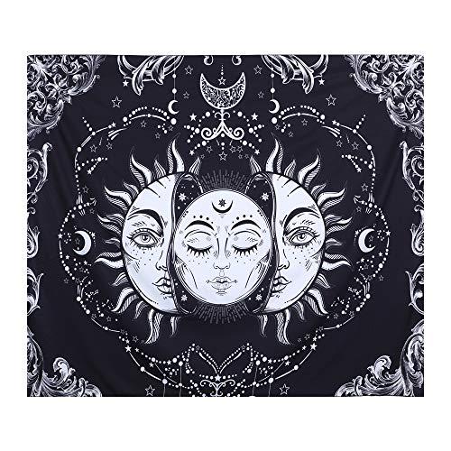 Tapiz Decorativo con Estampa Impresa Mandala Indio Celestial y Hippie Tapiz Luna y Sol Pared Manta de Playa para Dormitorio Sala de Estar Decor, Gran Idea para Regalo 150X130cm