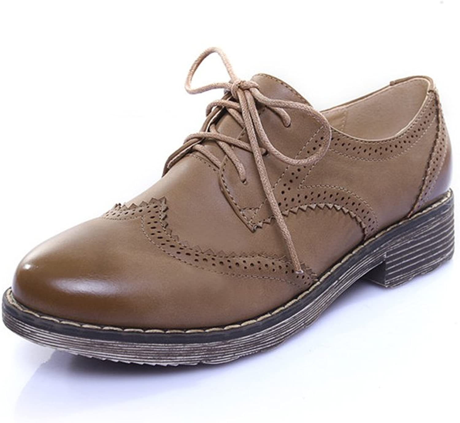 Lucksender Womens Fashion Lace Up Bullock Carve Oxford shoes