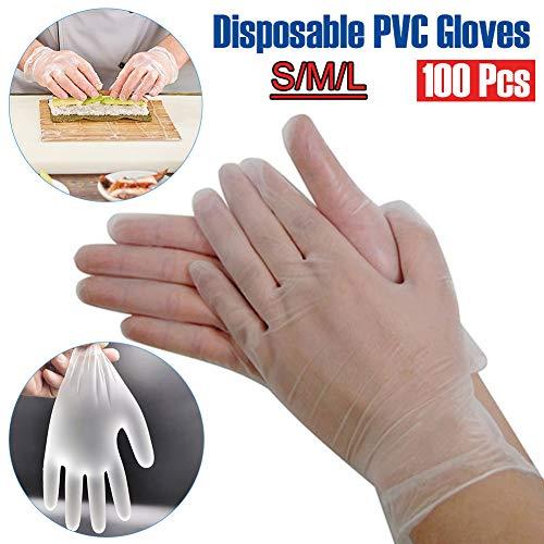 Delleu 100 Stück Einweghandschuhe Transparente PVC-Handschuhe Schutzhandschuhe Arbeitsversicherung Industriehandschuhe zum Kochen Küchengrillreinigung