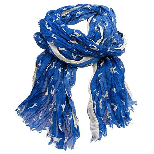 Alpenflüstern Alpenflüstern Crush-Trachtenschal Springende Hirsche (blau) ATX038