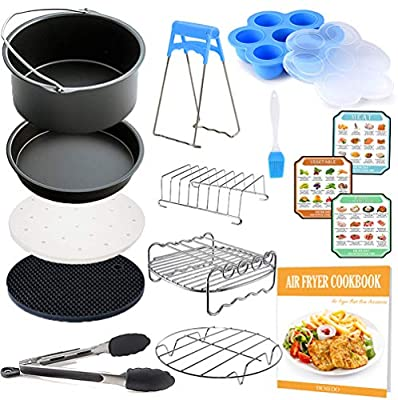 7 inch General Air Fryer Accessories Kit with Recipe Cookbook, Compatible for Ninja 4qt Philips Gowise USA Cozyna Airfryer 3.2QT - 3.5QT - 3.7QT, Also Instant Pot Accessories