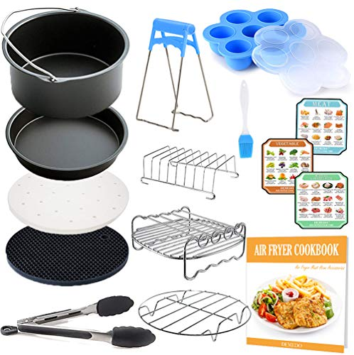 FDA 8 inch XL Air Fryer Accessories, Instant Pot Accessories, 12 Pcs with Recipe Cookbook, Fit for 5.3 QT-5.8 QT Air Fryer and Pressure Cooker, Gowise USA, COSORI are Compatible