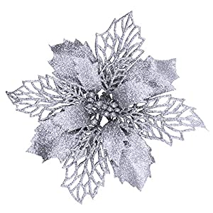 24 Pcs Christmas Silver Glittered Mesh Holly Leaf Artificial Poinsettia Flowers Picks Tree Ornaments 5.9″ W for Silver Christmas Tree Wreath Garland Floral Gift Wedding Winter Holiday Decoration