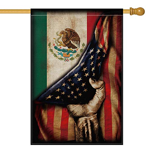 AVOIN Mexican American House Flag Vertical Double Sized, Mexico Independence Day Día de independecia Yard Outdoor Decoration 28 x 40 Inch