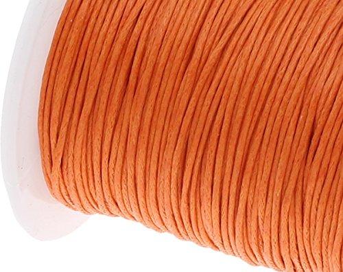 Perlin - 75 m Gewachste Baumwollekordel Orange 1mm Gewachst Schmuck Schnüre Wachs Fäden Baumwollschnur Wachsfaden Wachsband Perlenschnur Schmuckherstellung C169