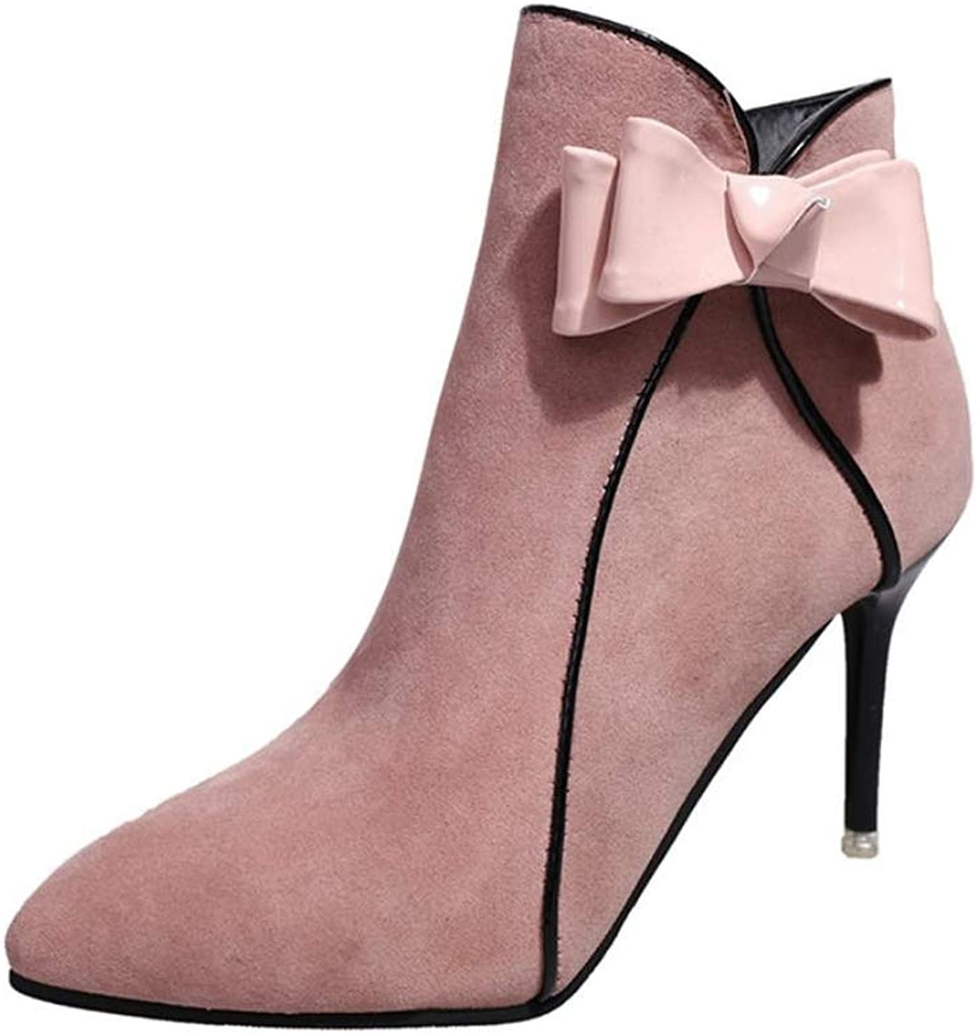 Cdon Pointed Women's Boots Bow Stiletto Booties Side Zipper Boots Ladies shoes