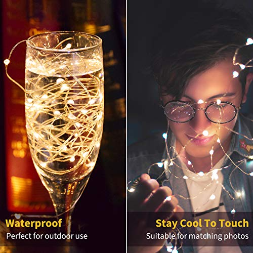12 Pack Led Fairy Lights Battery Operated String Lights Waterproof Copper Wire 7 Feet 20 Led Firefly Starry Moon Lights for DIY Wedding Party Bedroom Patio Christmas Warm White