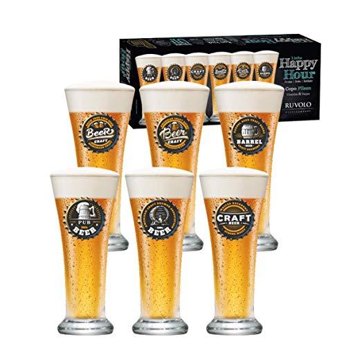 Jogo de Copos de Cerveja Pilsen de 275ml - 6 Peças