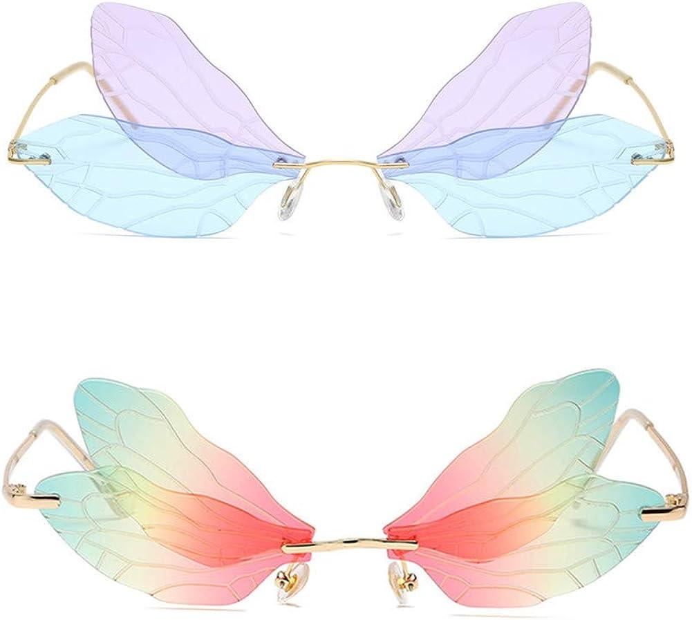 Grainas Sunglasses Butterfly Rimless Sunglasses Eye Eyewear Metal Frame Sunglasses UV400