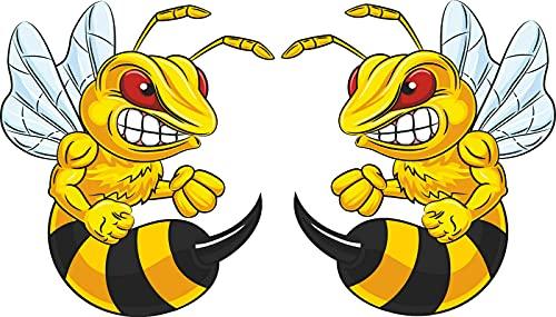 Michael & Rene Pflüger Barmstedt - 11,5x10 cm Set - Premium Auto Aufkleber Motiv böse Biene Wespe wütende Wut Hornisse Angry bee car Tuning Styling Sticker Motorrad Roller Mofa