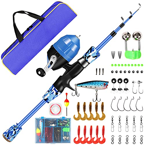Castaroud Kids Fishing Pole, Portable Telescopic Fishing Rod and Reel Combo with Spincast Fishing Reel, Tackle Box, Travel Bag for Boys, Girls, Youth