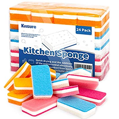 Kitsure Sponges for Kitchen, 24-Pack Dish Sponges in One Box, Powerful Dual-Sided Scrub Sponges for Effortless Cleaning of Tableware, Utensils and Worktop All at Once