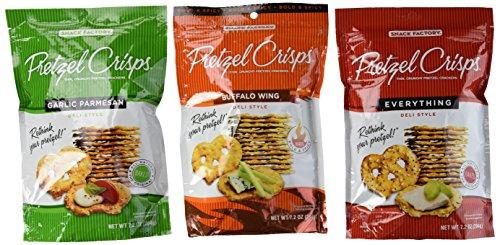 Snack Factory Deli Style Pretzel Crisps 3 Flavor Variety Bundle: (1)  Everything, (1) Garlic Parmesan, and (1) Buffalo Wing, 7.2 Oz. Ea.
