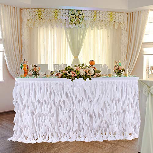 Leegleri 9 ft White Curly Willow Table Skirt Tulle Ruffle Table Skirt for Rectangle Table or Round Table,Tutu Table Skirt for Baby Shower,Wedding,Birthday Party (L 9(ft) H 30in) 10' Round Shower Head