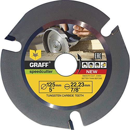 Widia Disco Smerigliatrice Legno GRAFF® Speedcutter 125mm, Lama in Carburo di Tungsteno, Disco per Legno 3 denti TCT per Smerigliatrice Angolare (125 mm)