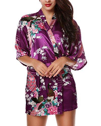 Avidlove - Kimono de Mujer para Pavo Real y Flores, Estilo Corto Morado Morado Oscuro M