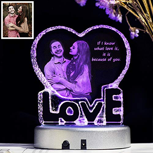 YWHL Custom Anniversary Present for Wife, 2D Laser Engraving Personalized Girlfriend Gifts, Love Gift with LED Base for her, Unique Birthday Gifts for Women