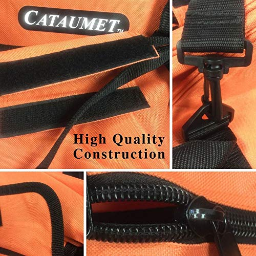 """Cataumet Chainsaw Carrying Case Bag Holds 14 16 18 Inch Saws Chain Saw Sharpener File Kit Includes 3 File Sizes 5/32"""" 3/16"""" 7/32"""" with 3 Sharpening Guide Handles Depth Gauge Flat File Wrench"""