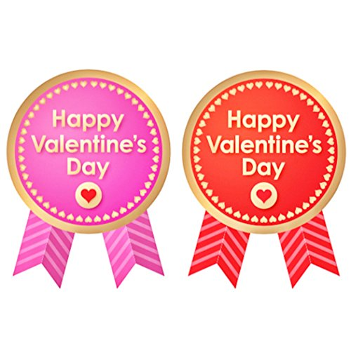 creve バレンタイン ギフトシール ギフトステッカー ラッピングラベル 光沢 防水 業務用 (リボン型 4×3�p 2色 50枚セット)