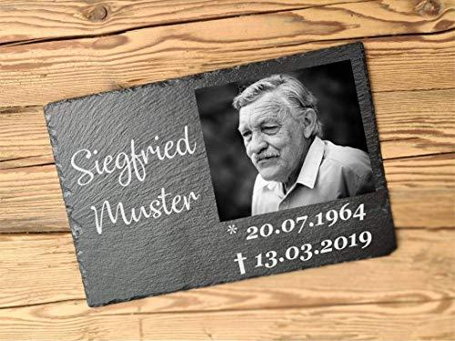 Gedenktafel personalisiert mit Foto | Platte für Friedhof 30 x 20 cm aus Schiefer | Inividuelle Grabplatte für Urnengrab mit Foto | Gedenkstein mit persönlichem Foto