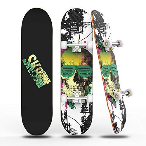 """Skateboards für Anfänger, 31 \""""x 8\"""" komplettes Skateboard mit ABEC-7 Lager und 95A Rad, 8 Schicht Hard Maple Deck für Teenager und Erwachsene,Double Kick Deck Concave Cruiser Trick Skull Skateboard"""