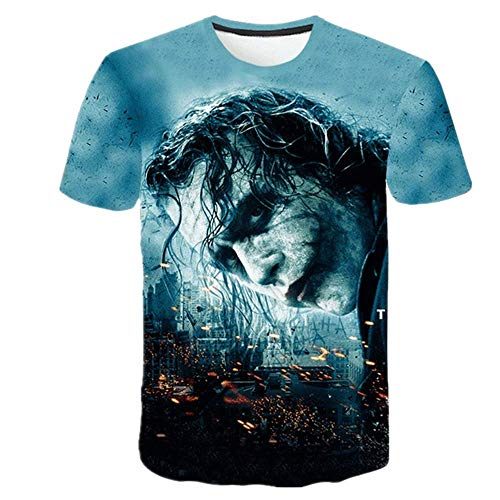N\P Bedrucktes T-Shirt für Herren, Joker-Gesicht, lässig, Rundhalsausschnitt, Clown, kurzärmelig, lustiges T-Shirt Gr. 6XL, Lj-102