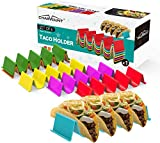 CHARMOUNT Taco Holder Stand, Set of 6 New Upgrade Colorful Taco Rack Holders - Premium Taco Shell Holder Stand on Table, Hold 5 Hard Shell Tacos Serving Tray, Dishwasher & Microwave Safe