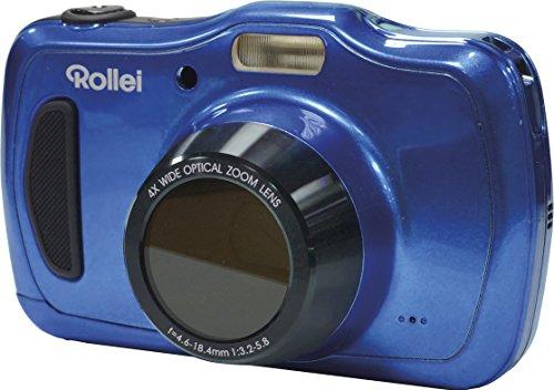 Rollei Sportsline 100 - vielseitige Digitalkamera mit 20 MP, 4-fach optischem Zoom, spritzwasserfest und wasserdicht bis zu 10 Meter mit Foto-Zeitraffer-Funktion - Blau