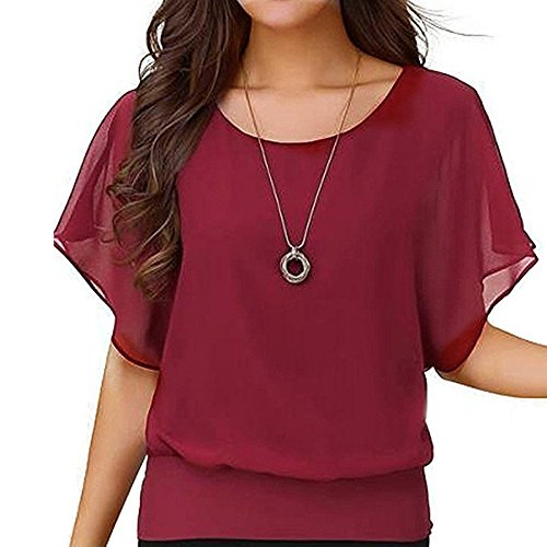 Best Deals! FengGa Women Summer Loose Soft Fitness Yoga Casual Short Sleeve Batwing Sleeve Chiffon P...