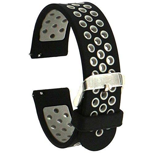 Elespoto 20mm Schnellwechsel-Uhrenarmband Silikon-Gummi-Armband für Samsung Classic Huawei 20mm Männer, Pebble Time Round 20mm, Bradley Timepiece (Black Grey)