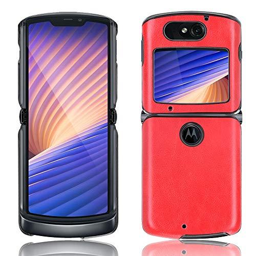 SPAK Motorola Razr 5G 2020 Hülle,PU-Leder Schutzhülle Harter Rückseitiger Abdeckungs Handyhülle für Motorola Razr 5G 2020 (Rot)