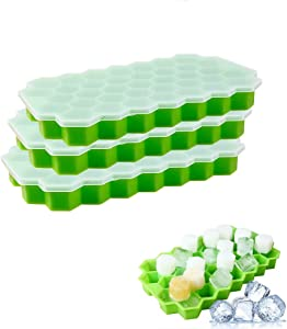 Ice Cube Trays with Lids, Qinbin 2Pack (74 Ice Cubes) Silicone Ice Cube Molds for Whiskey Storage, Cocktail, Beverages