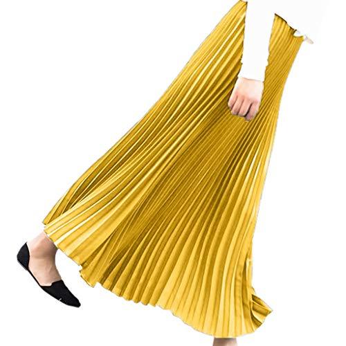 Andouy Damen Chiffon Klassisch Mehrfarbig Plissee Mittellanger Rock mit Elastische Bund(36-48.Gelb)