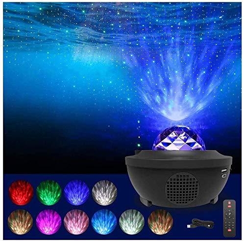 Ibello Proyector Estrellas Proyector de luz nocturna control remoto, Proyector Musical de Estrella Multicolor para Dormitorios, Bar, Teatro, Discoteca, Regalo Ideal para el día de los Reyes Magos