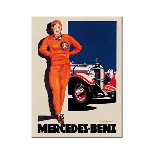 Nostalgic-Art 14371 Mercedes-Benz -Woman in Red | Retro Magnet | Kühlschrank-Magnet | Vintage | 6x8 cm