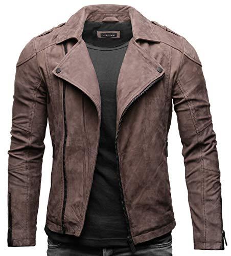 Crone Theo Herren Lederjacke Basic Biker Jacke aus weichem Rindsleder (M, Togo (Nubukleder))