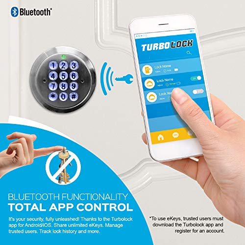 TurboLock TL99 Bluetooth Smart Lock for Keyless Entry with App | Share & Delete Unlimited eKeys on Demand | Beautiful Finish, Simple Installation, Weather-Ready Craftsmanship. (Bronze)