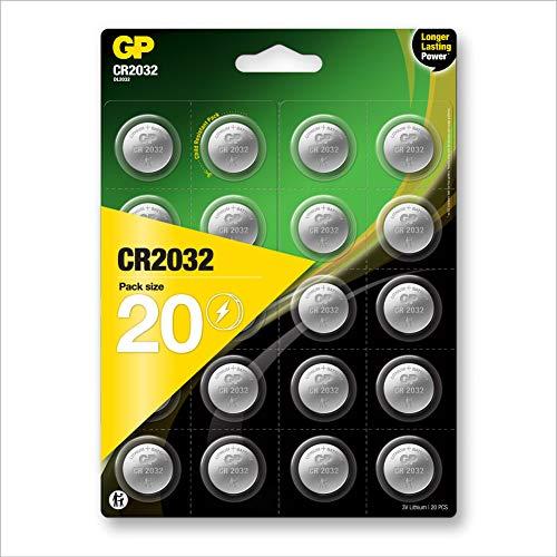 GP Lithium Knopfzellen CR2032 3V, Knopfbatterien CR 2032 / DL2032, Spannung 3 Volt (20 Stück Batterien CR2032 im 4X 5er Pack, Batterien einzeln entnehmbar)