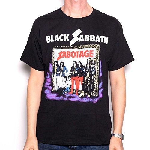 Black Sabbath Camiseta Oficial de Manga Corta Sabotage en Negro - L
