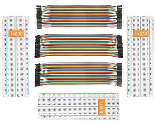 DEYUE 3 Set Standard Jumper Wires Plus 3 Set of Solderless Prototype Breadboard 830 tie Points Breadboard | 3 Set of M/F, M/M, F/F - Each 40pin Electronic Jumpers Wire
