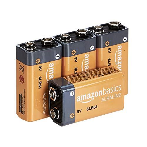 AmazonBasics - Batterie alcaline per uso quotidiano, 9V, confezione da 4 (l'aspetto potrebbe variare dall'immagine)
