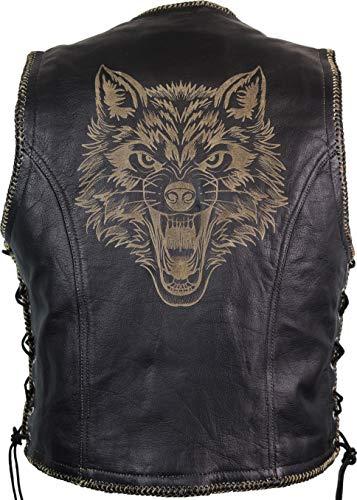 MDM Chaleco de piel con impresión láser (lobo).