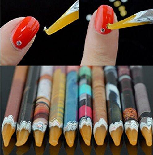 Self Adhesive Wax Dotting Pencil Pen Picker for Nail Art Rhinestones Gem Crystal Diamond Jewel Charms Pick Up DIY Design Applicator Tool Kits Sharpened Tip 10Pcs