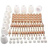 Fangfeen 85pcs Luft-Plasma-Schneidemaschine Schneidbrenner Elektroden Düsen TIPP Shield Schalen Kit Ersatz für CUT-50D CUT50 CT-312