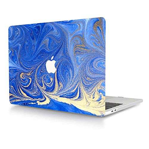 ACJYX Case for MacBook New Pro 15 inch 2020 2019 2018 2017 2016 Release Model A1707 A1990 Smooth Touch Plastic Protective Shell with Patterns Laptop Case for MacBook New Pro 15', Blue & Gold